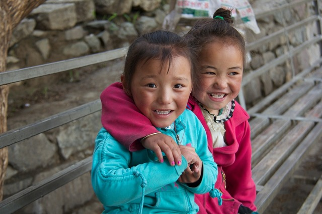 Girls tibet children, emotions.