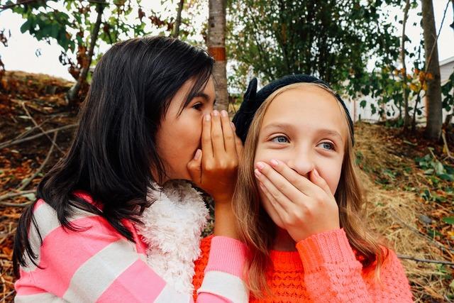 Girls whispering best friends, people.