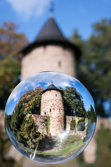 Glass ball city wall watchtower, architecture buildings.