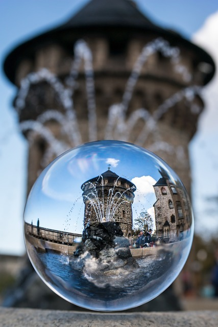 Glass ball tower fountain, architecture buildings.