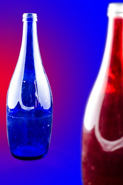 Glass blue red color.