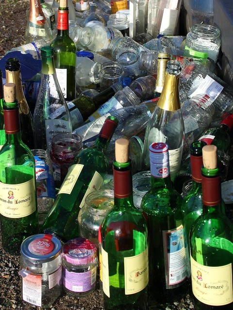 Glass bottles recycled glass.