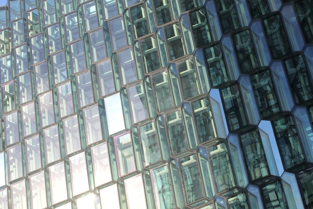 Glass facade mirroring, architecture buildings.