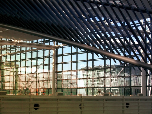 Glass metal roof, architecture buildings.