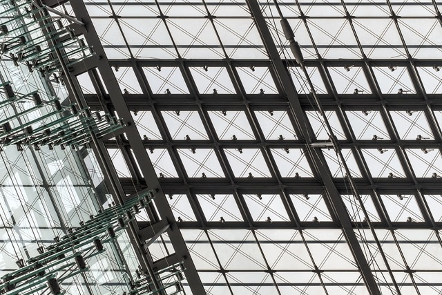 Glass windows ceiling, architecture buildings.