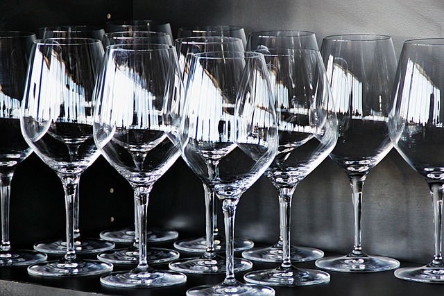 Glass wine stemware, food drink.