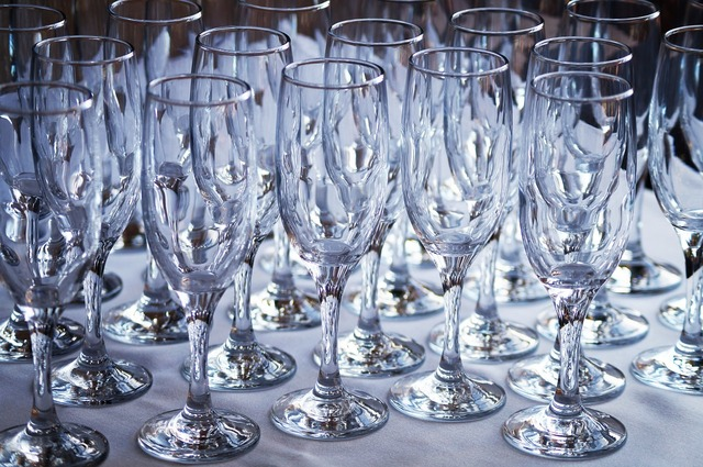 Glasses champagne alcohol, food drink.