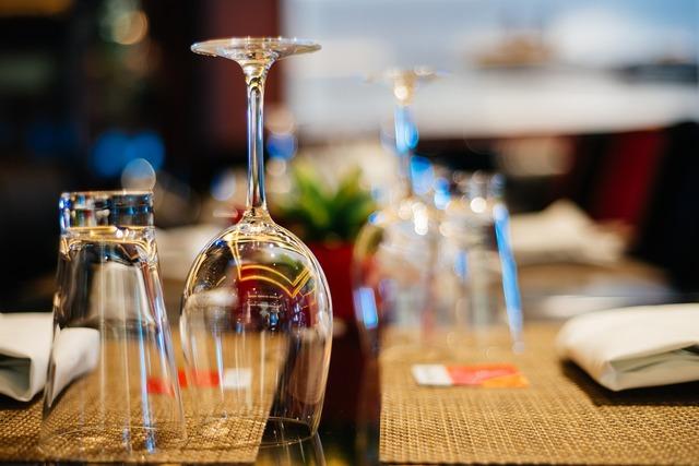 Glasses table restaurant.