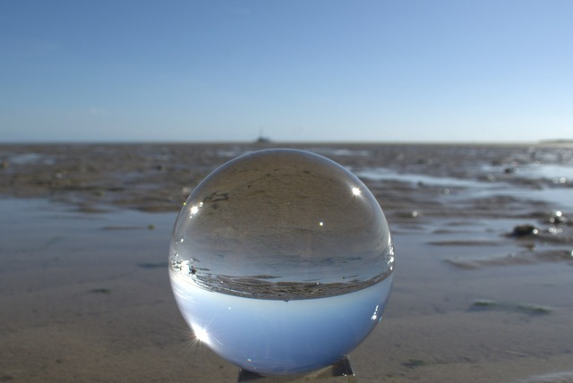 Globe image wadden sea mirroring, travel vacation.