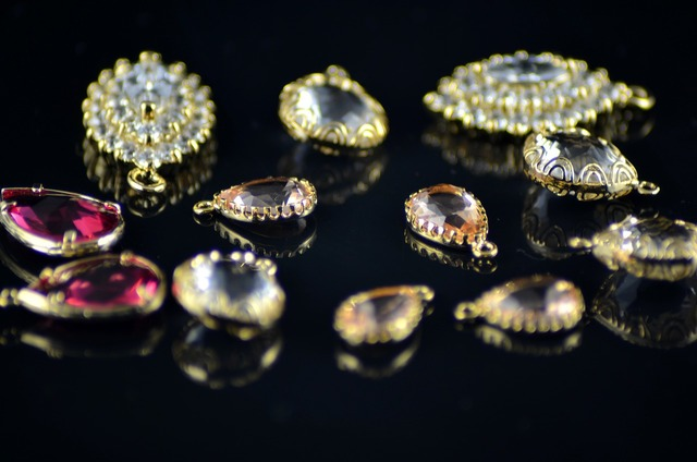Gold crystal jewelry.