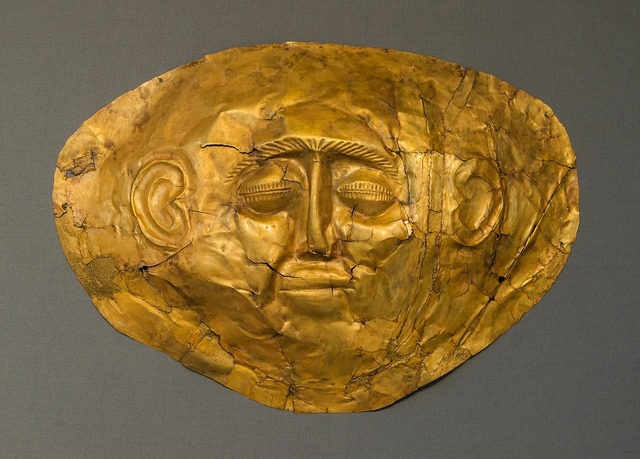 Gold funeral mask ancient, places monuments.