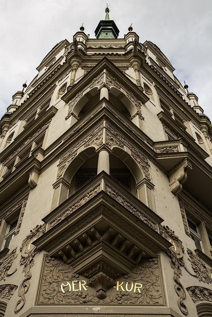 Golden city prague facade, architecture buildings.