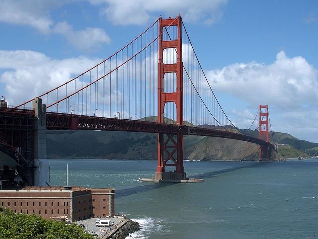 Golden gate bridge suspension bridge steel cables, architecture buildings.
