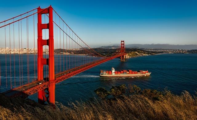 Golden gate bridge suspension san francisco, travel vacation.