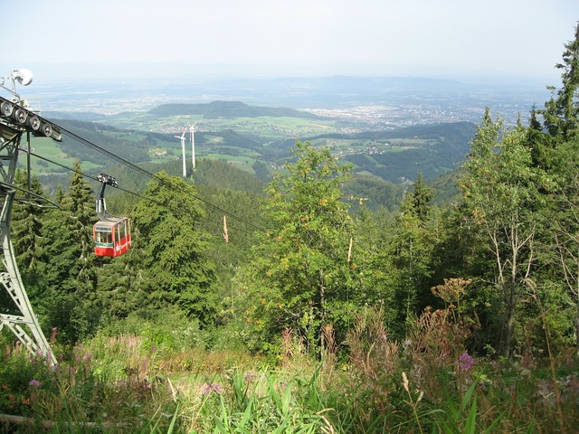 Gondola mountain and valley landscape, nature landscapes.