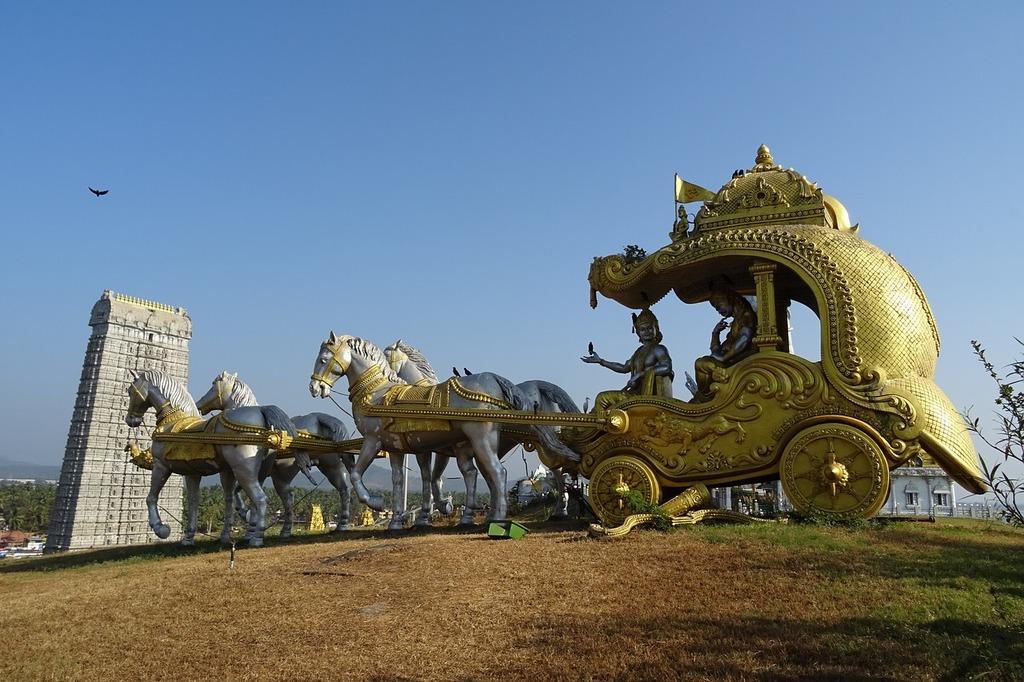 Gopuram chariot krishna, religion.