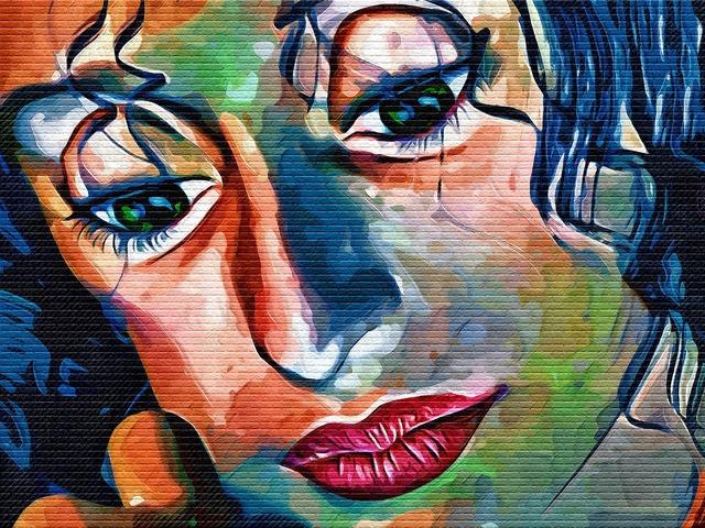 Graffiti face woman, beauty fashion.
