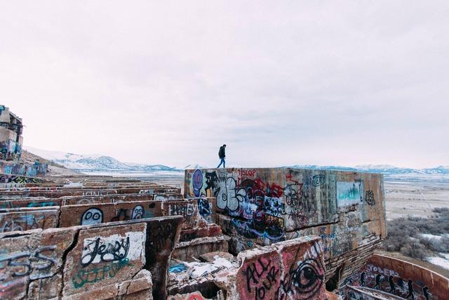 Graffiti walls ruins, architecture buildings.