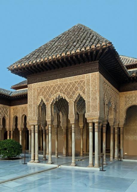 Granada spain courtyard, architecture buildings.