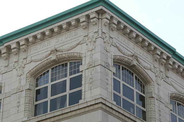 Granite building engraved, architecture buildings.