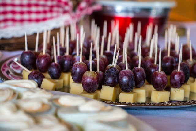 Grapes cheese toothpick, food drink.