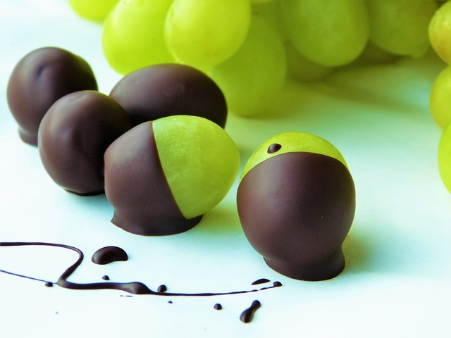 Grapes green chocolate, food drink.