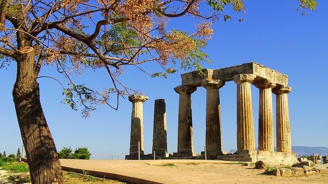 Greece corinth antiquity, travel vacation.
