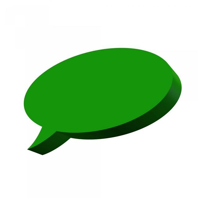 Green speech balloon, computer communication.
