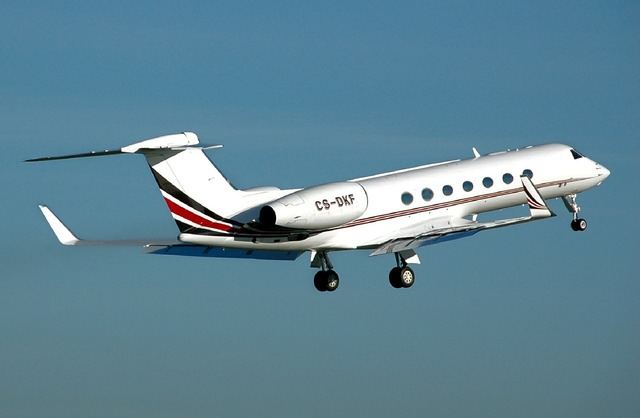 Gulfstream g550 aircraft take off, business finance.