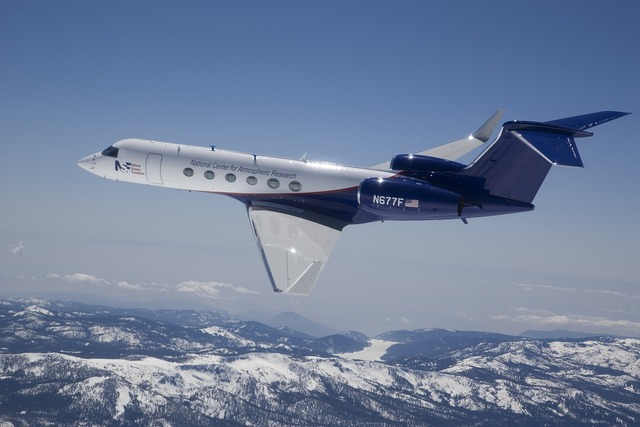 Gulfstream v aircraft flying.