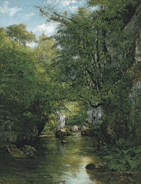 Gustave courbet art painting, nature landscapes.