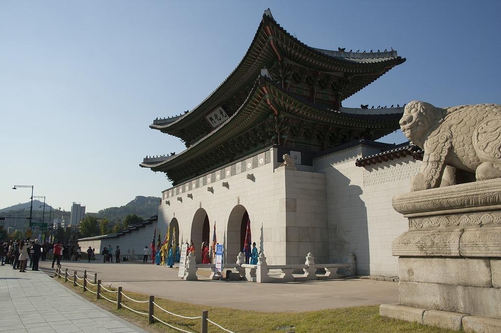 Gyeongbok palace gwanghwamun forbidden city, architecture buildings.
