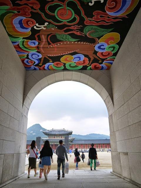 Gyeongbok palace gwanghwamun storefront, architecture buildings.