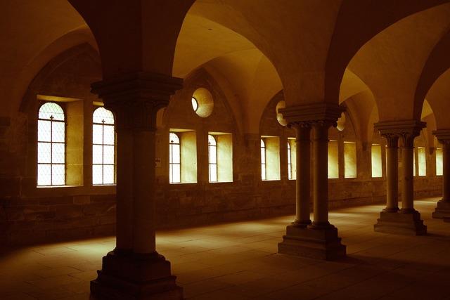 Hallway columns interior, architecture buildings.