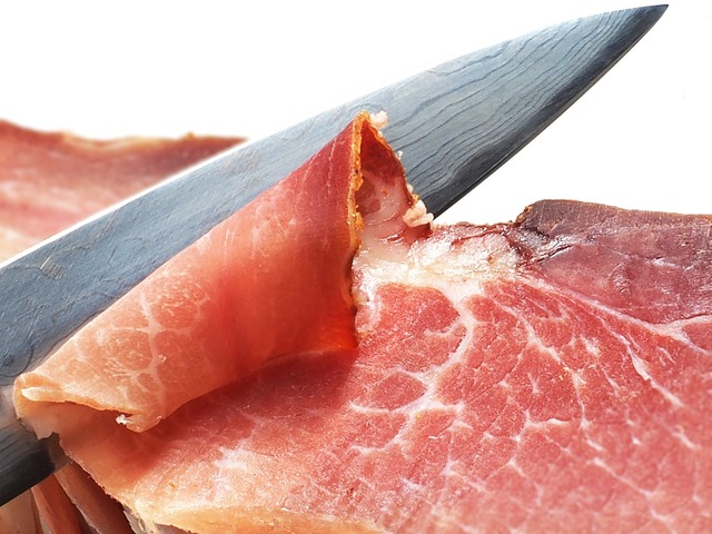 Ham knife eat, food drink.