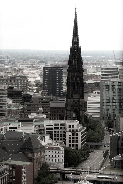 Hamburg church steeple, religion.