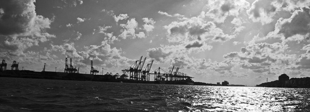 Hamburg port elbe harbour cranes.