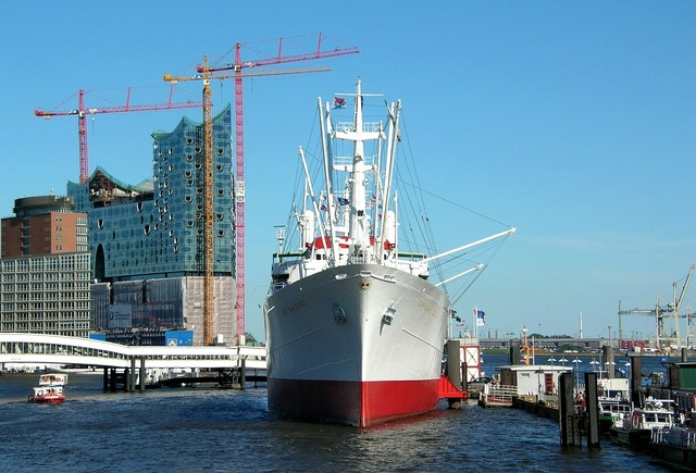 Hamburg port ship, architecture buildings.