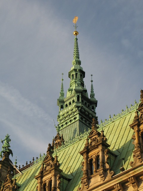 Hamburg town hall turret, places monuments.