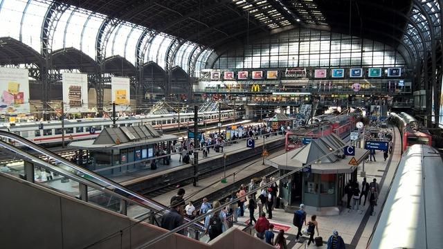 Hamburg train station transportation, transportation traffic.