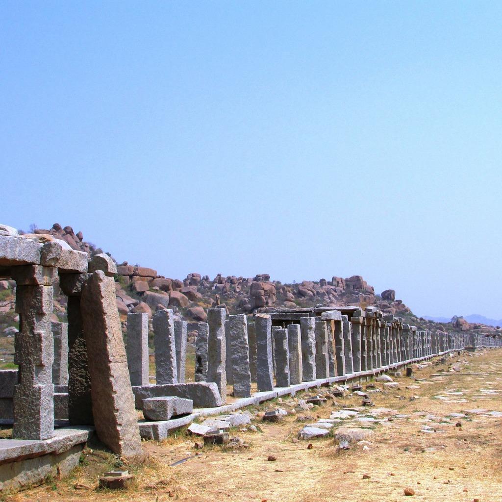 Hampi columns india, places monuments.