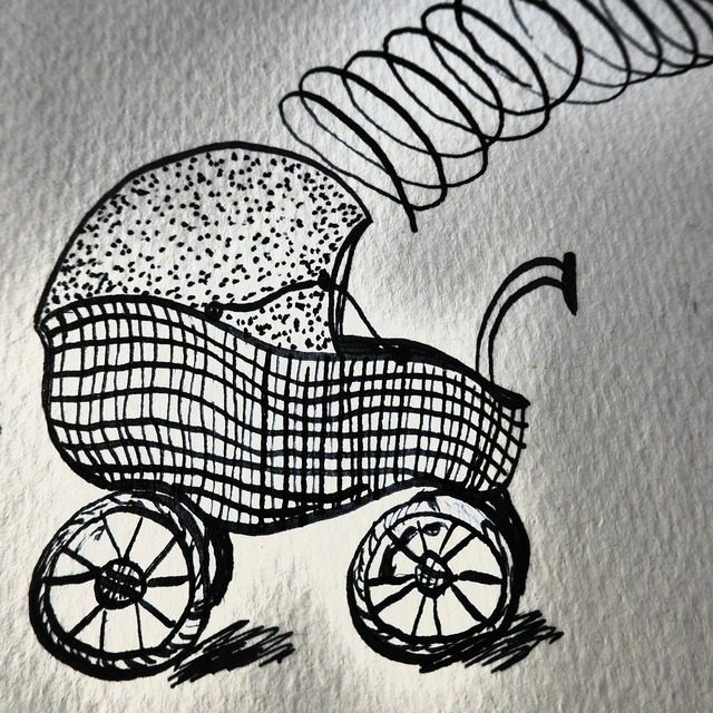 Hand drawn sketch baby carriage birth.