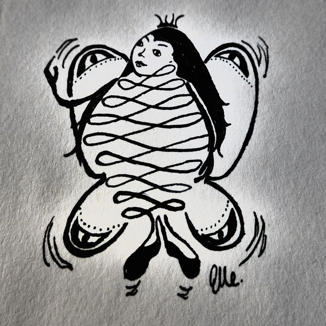 Hand drawn sketch butterfly fee, beauty fashion.