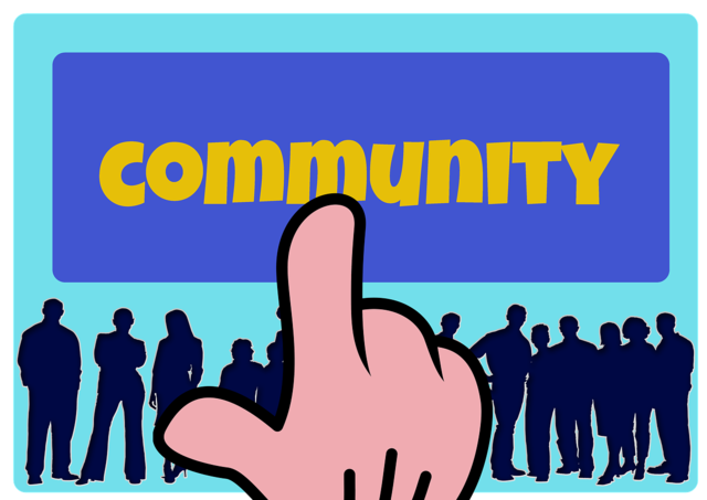Hand icon community, computer communication.