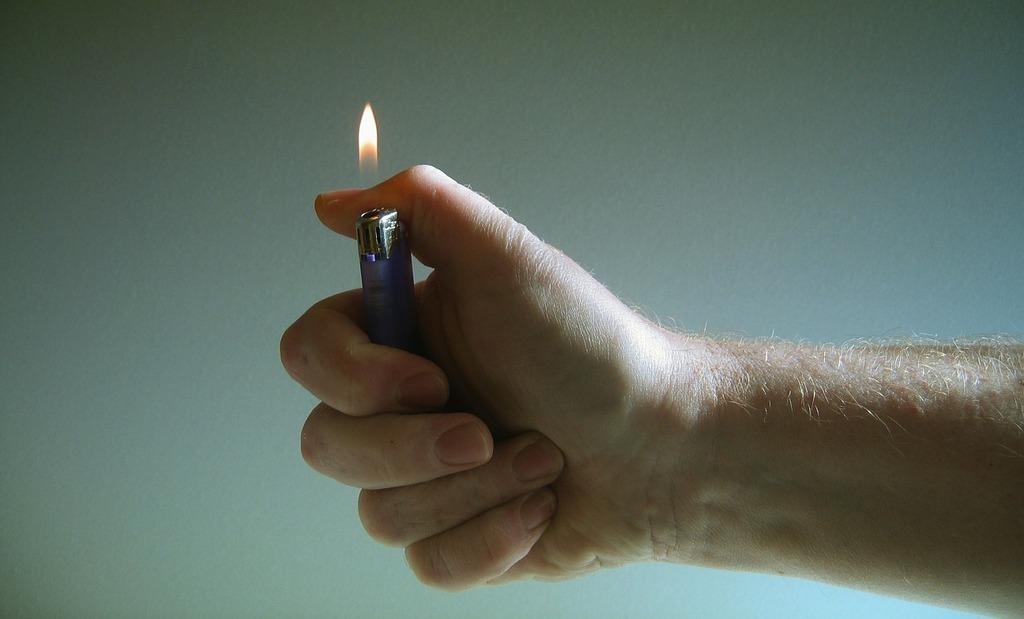Hand lighter fire.
