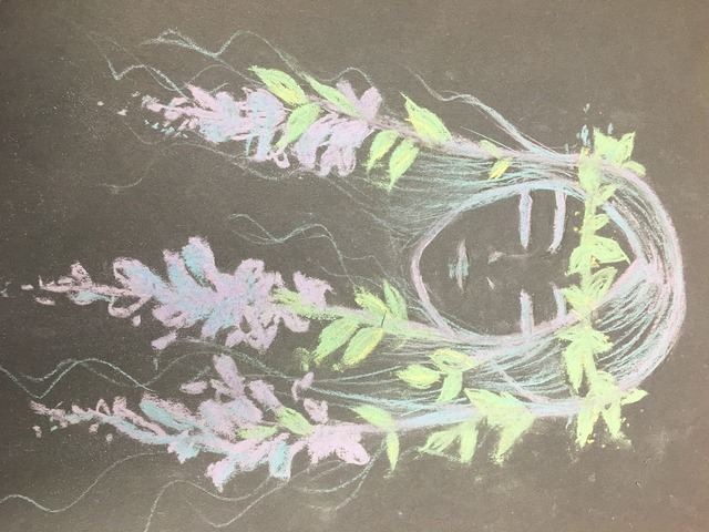 Hand-painted chalk drawing girls.