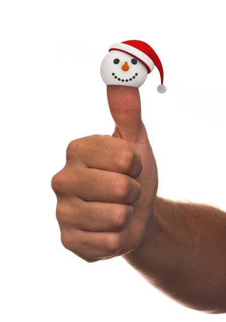 Hand thumb snow man, emotions.
