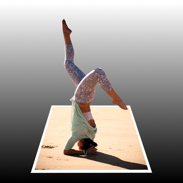 Handstand beach woman, travel vacation.
