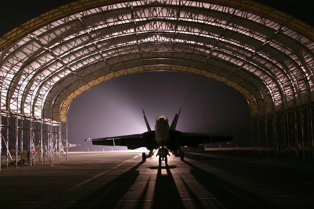 Hangar jet aircraft.