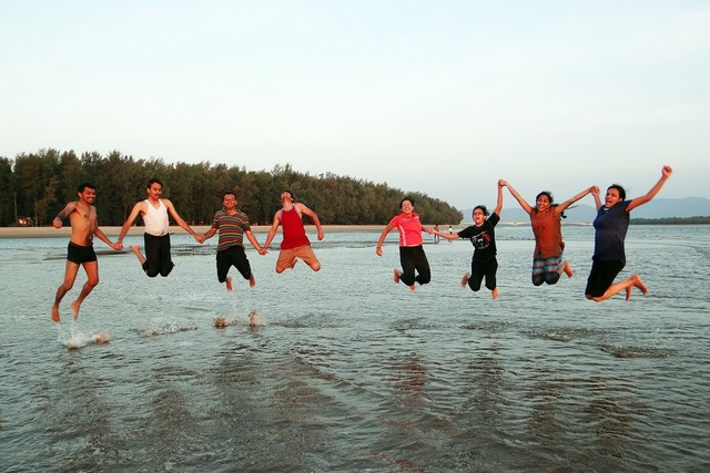 Happy people happy jumping, emotions.